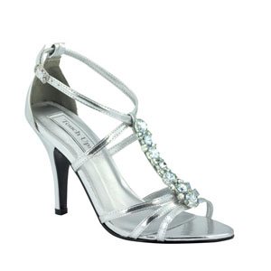 Touch Ups Womens Vanessa Silver Metalllic Sandals Prom and Evening Shoes