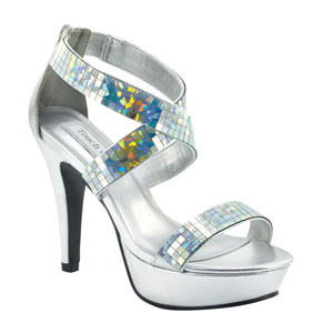 Touch Ups Womens Sadie Silver Metalllic Platforms Prom and Evening Shoes