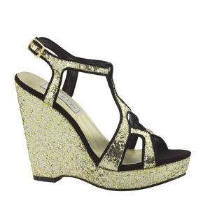 Touch Ups Womens Sasha Gold Glitter Wedge Prom and Evening Shoes
