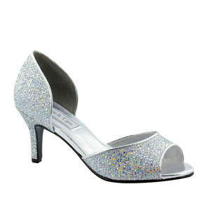 Touch Ups Womens Jolee Silver Glitter Sandals Prom and Evening Shoes