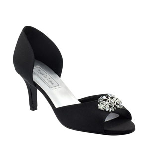 Touch Ups Womens Olivia Black Satin Sandals Prom and Evening Shoes
