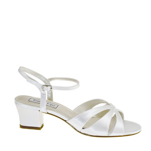 Touch Ups Womens Monaco White Satin Sandals Prom and Evening Shoes