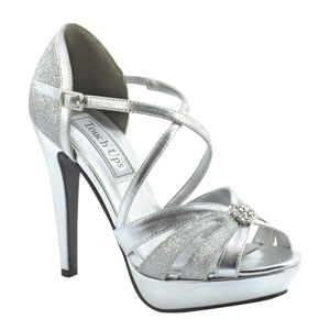 Touch Ups Womens Stella Silver Synthetic Sandals Prom and Evening Shoes