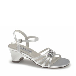 Touch Ups Girls Betsy White Satin Sandals Flower Girls Shoes