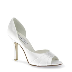 Touch Ups Womens Flash White Satin Peep/Open Toe Wedding Shoes