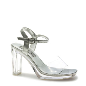 Touch Ups Womens Madonna Silver PVC Platforms Prom and Evening Shoes
