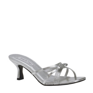 Touch Ups Womens Erin Silver Glitter Slide Prom and Evening Shoes