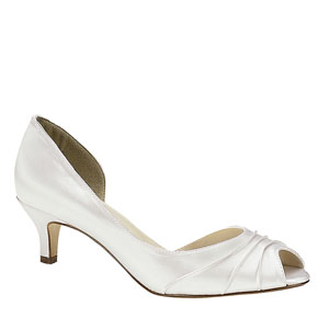 Touch Ups Womens Abby White Satin Peep/Open Toe Prom and Evening Shoes