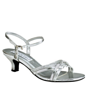 Touch Ups Womens Melanie Silver Glitter Sandals Prom and Evening Shoes