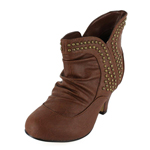 Wild Diva Womens REVA-68 Taupe PU Jersey Boots Casual Shoes
