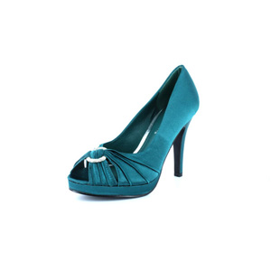 Wild Diva Womens ERIN-115 TealSatin Synthetic Peep/Open Toe Prom and Evening Shoes